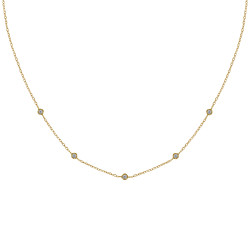 Collier Plaqué Or Cinq Petits Strass Ronds