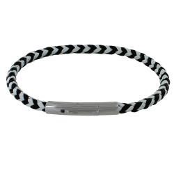 Bracelet Homme Cuir Tréssé Rond Bicolore Noir et Blanc