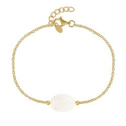 Bracelet Plaqué Or Pierre Ovale de Quartz Blanc