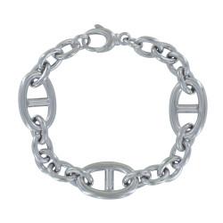 Bracelet Argent Rhodié Trois Grands Maillons Marin