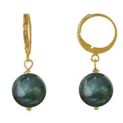 Boucles d'Oreilles Mini Créoles Plaqué Or et Perle de Séraphinite
