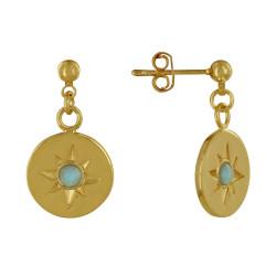 Boucles d'Oreilles Plaqué Or Médaille Ronde Constellation et Demi Perle de Larimar