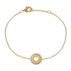 Bracelet Plaqué Or Médaille Ronde Coeur Ajouré et Strass