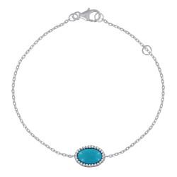 Bracelet Argent Rhodié Ovale Imitation Turquoise