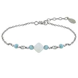 Bracelet Argent Rhodié Pavé Carré de Nacre et Quatre Perles de Larimar Facettées