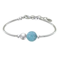 Bracelet Tubes Argent Une Perle de Larimar et Trois Perles Argent