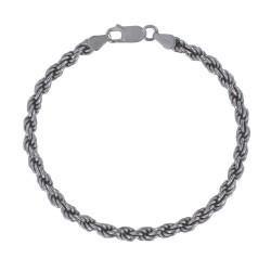 Bracelet Argent Rhodié Mailles Corde 4mm