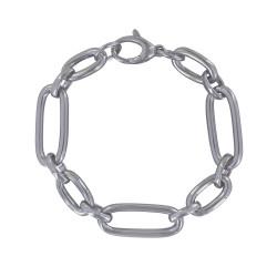 Bracelet Argent Rhodié Petits et Longs Maillons Ovales