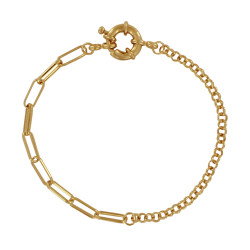 Bracelet Plaqué Or Mailles Jaseron et Cheval