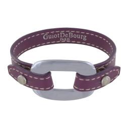 Bracelet Cuir et Maille Rectangle Plate Argent 925