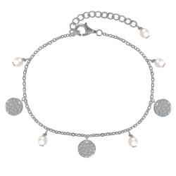 Bracelet Argent Rhodié Perles Blanches et Pastilles Martelées