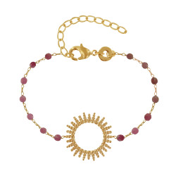 Bracelet Plaqué Or Soleil de Billes Ajouré et Perles Facettées Tourmaline Rose