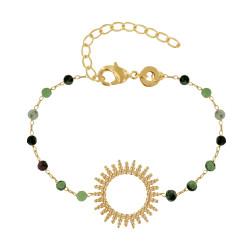 Bracelet Plaqué Or Soleil de Billes Ajouré et Perles Facettées Rubis Zoïsite