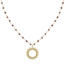Collier Plaqué Or Soleil de Billes Ajouré et Perles Facettées Tourmaline Rose