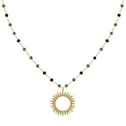 Collier Plaqué Or Soleil de Billes Ajouré et Perles Facettées Rubis Zoïsite