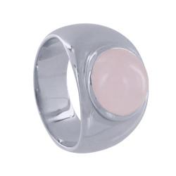 Bague Argent Rhodié Large Demi Perle de Quartz Rose