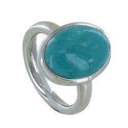Bague Argent Ovale de Turquoise