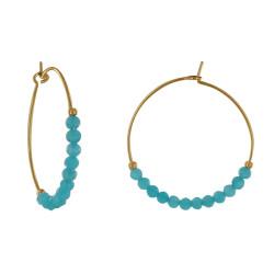 Boucles d'Oreilles Plaqué Or Créoles Perles Facettées Turquoise