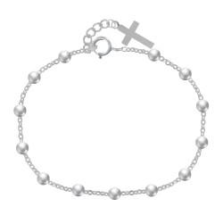 Bracelet Argent Perles et Breloque Croix