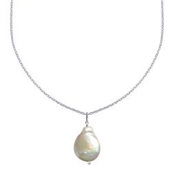 Collier Argent Rhodié Perle de Nacre Plate