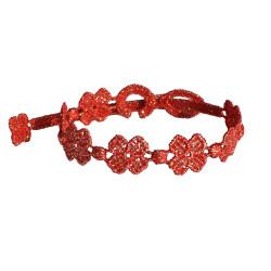 Cruciani Bracelet Dentelle 7 Trèfles Lurex Doré Rouge