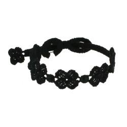 Cruciani Bracelet Enfant Dentelle 5 Trèfles Noir