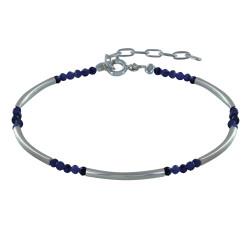 Bracelet Argent Tubes et Perles Facettées de Lapis Lazuli