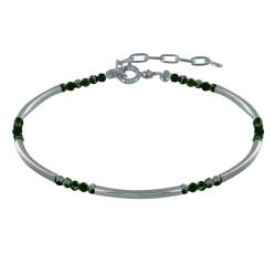 Bracelet Argent Tubes et Perles Facettées de Chrome Diopside