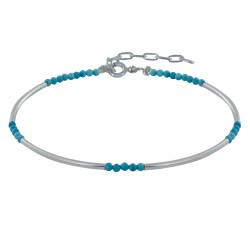 Bracelet Argent Tubes et Perles de Turquoise