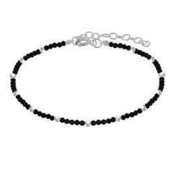 Bracelet Argent Perles et Onyx Noir Facetté