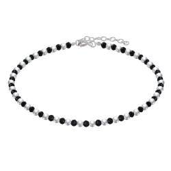 Bracelet Perles Argent et Perles d'Onyx Noir Facetté