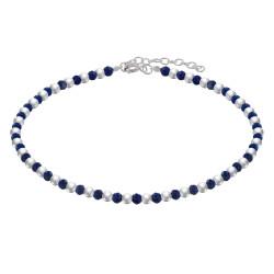 Bracelet Perles Argent et Perles de Lapis Lazuli Facetté