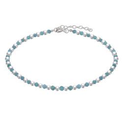 Bracelet Perles Argent et Perles d'Amazonite Facetté