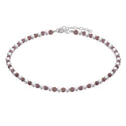 Bracelet Perles Argent et Perles de Grenat Rouge Facetté