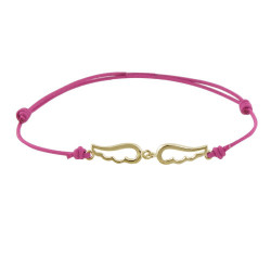 Bracelet Plaqué Or sur Lien Deux Petites Ailes d'Ange Ajourées