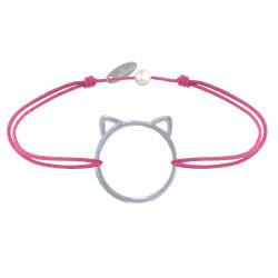 Bracelet Lien Médaille Argent Tête de Chat Ajouré