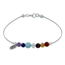 Bracelet Câbles 7 Chakras Perle d'Améthyste