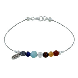 Bracelet Câbles 7 Chakras Perle d'Hématite