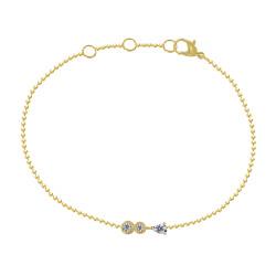 Bracelet Plaqué Or Une Goutte et Deux Petits Strass Ronds