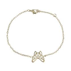 Bracelet Plaqué Or Papillon Ajouré