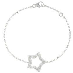 Bracelet Argent Rhodié Etoile de Strass