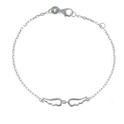 Bracelet Argent Rhodié Deux Petites Ailes d'Ange Ajourées