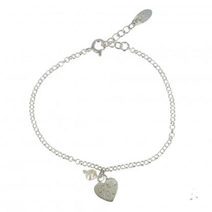 Bracelet Argent Coeur Love You et Perle Blanche