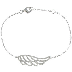 Bracelet Argent Aile d'Ange et Strass