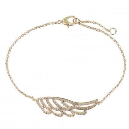 Bracelet Plaqué Or Aile d'Ange et Strass