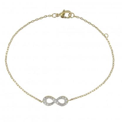 Bracelet Plaqué Or Infini et Strass Cristal