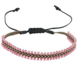 Bracelet Tissé Noir et Rose Perles Rose