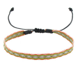 Bracelet Tissé Orange et Vert Lien Coulissant Noir