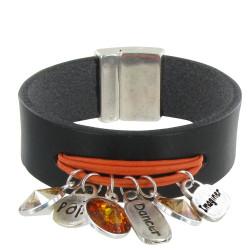 Bracelet Cuir Noir Swarovski Multi Breloques et Coton - Colors