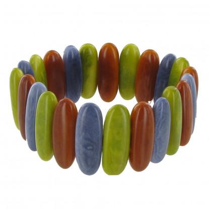 Bracelet Elastique Graines de Tagua Vert Orange et Gris Ardoise